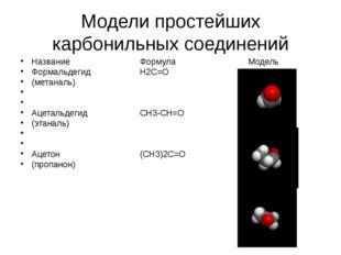 Модели простейших карбонильных соединений НазваниеФормулаМодель Фор