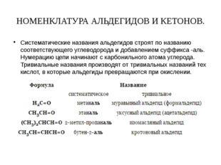 НОМЕНКЛАТУРА АЛЬДЕГИДОВ И КЕТОНОВ. Систематические названия альдегидов строят
