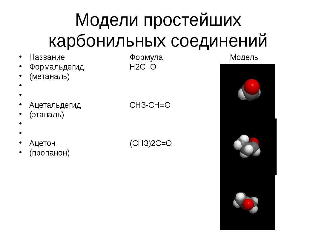 Модели простейших карбонильных соединений НазваниеФормулаМодель Фор...