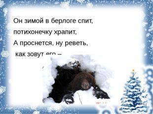 Он зимой в берлоге спит, потихонечку храпит, А проснется, ну реветь, как зов