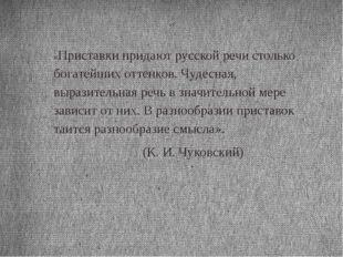 «Приставки придают русской речи столько богатейших оттенков. Чудесная, вырази