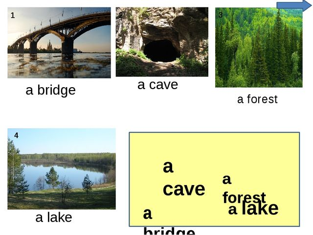 a bridge a cave a forest a lake a forest a cave a bridge a lake 4 1 2 3