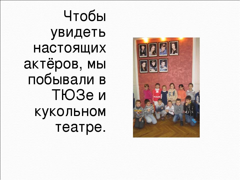 Чтобы увидеть настоящих актёров, мы побывали в ТЮЗе и кукольном театре.
