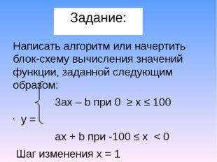 Задание: Написать алгоритм или начертить блок-схему вычисления значений функц