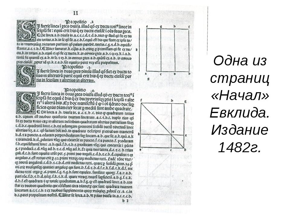 Одна из страниц «Начал» Евклида. Издание 1482г.