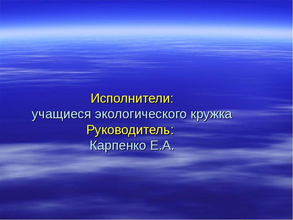 Исполнители: учащиеся экологического кружка Руководитель: Карпенко Е.А.