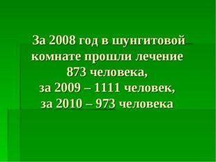 За 2008 год в шунгитовой комнате прошли лечение 873 человека, за 2009 – 1111