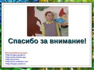 Спасибо за внимание! Использованные ресурсы: http://images.google.ru http://s