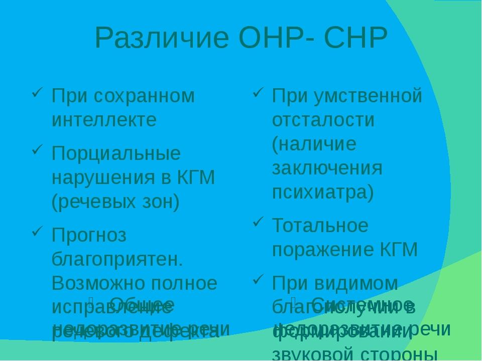 Различие ОНР- СНР Общее недоразвитие речи Системное недоразвитие речи При сох...