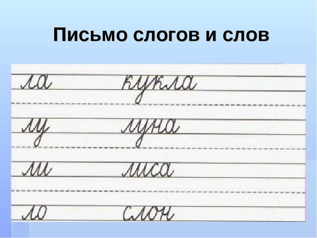 Письмо слогов и слов