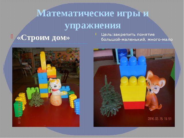 Математические игры и упражнения «Строим дом» Цель:закрепить понятие большой-...