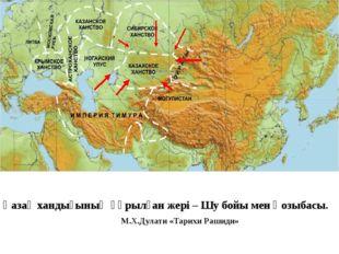 Қазақ хандығының құрылған жері – Шу бойы мен Қозыбасы.  М.Х.Дулати «Тарихи