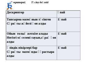 «Б»критериі; Түсіну деңгейі Дескриптор Ұпай Тапсырма мазмұнын түсінген Сұрақт