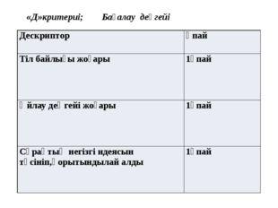 «Д»критериі; Бағалау деңгейі Дескриптор Ұпай Тіл байлығы жоғары 1ұпай Өйлау
