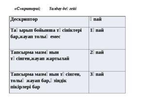 «С»критериі; Талдау деңгейі Дескриптор Ұпай Тақырыпбойыншатүсініктері бар,жа