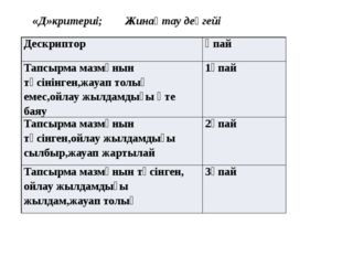 «Д»критериі; Жинақтау деңгейі Дескриптор Ұпай Тапсырма мазмұнын түсінінген,ж