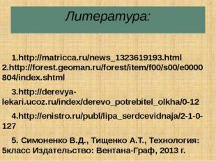 Литература: 1.http://matricca.ru/news_1323619193.html 2.http://forest.geoman.