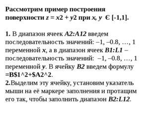 Рассмотрим пример построения поверхностиz = x2+y2приx, y Є [-1,1]. 1. В