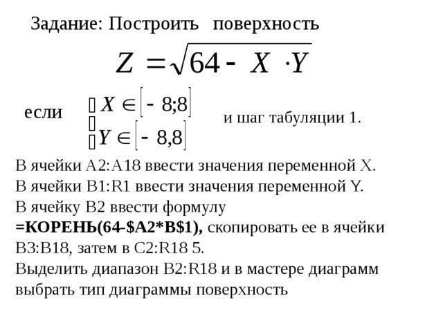 Задание: Построить поверхность если и шаг табуляции 1. В ячейки A2:A18 ввести...