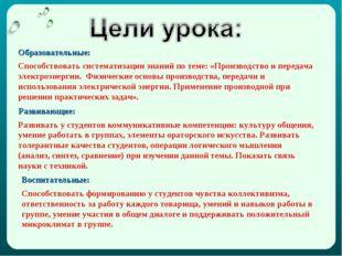Образовательные: Способствовать систематизации знаний по теме: «Производство