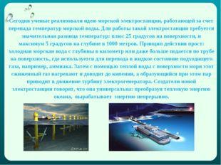 Сегодня ученые реализовали идею морской электростанции, работающей за счет пе