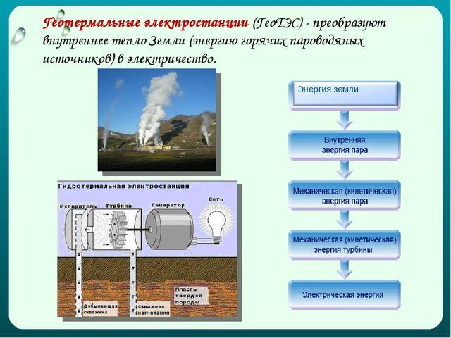 Геотермальные электростанции (ГеоТЭС) - преобразуют внутреннее тепло Земли (э...