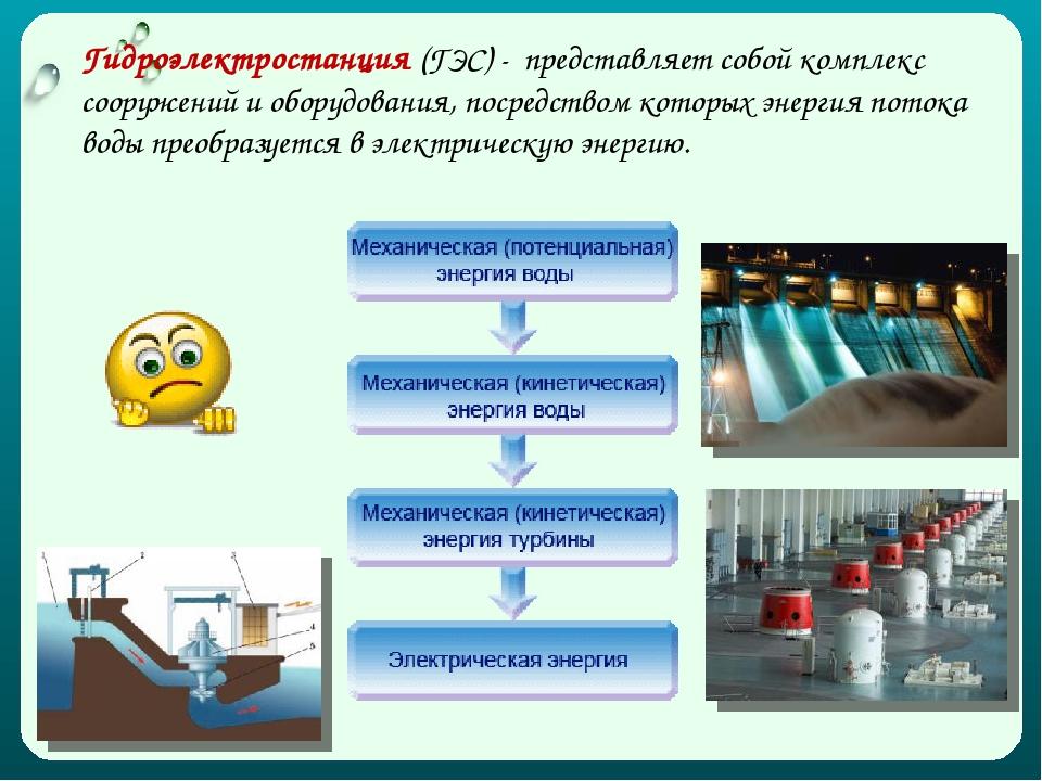 Гидроэлектростанция (ГЭС) - представляет собой комплекс сооружений и оборудов...