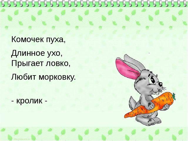 Комочек пуха, Длинное ухо, Прыгает ловко, Любит морковку. - кролик -