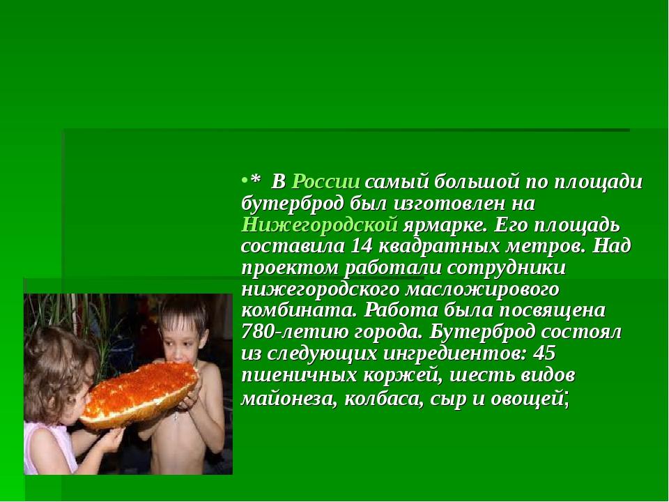 * В России самый большой по площади бутерброд был изготовлен на Нижегородско...