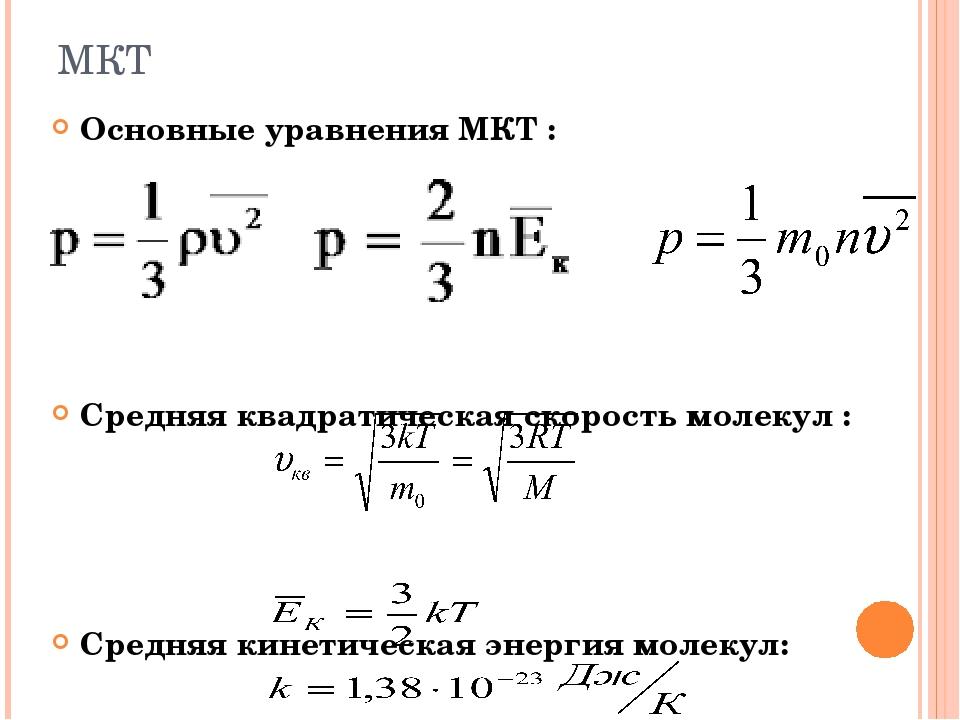 Основные уравнения МКТ : Средняя квадратическая скорость молекул : Средняя ки...