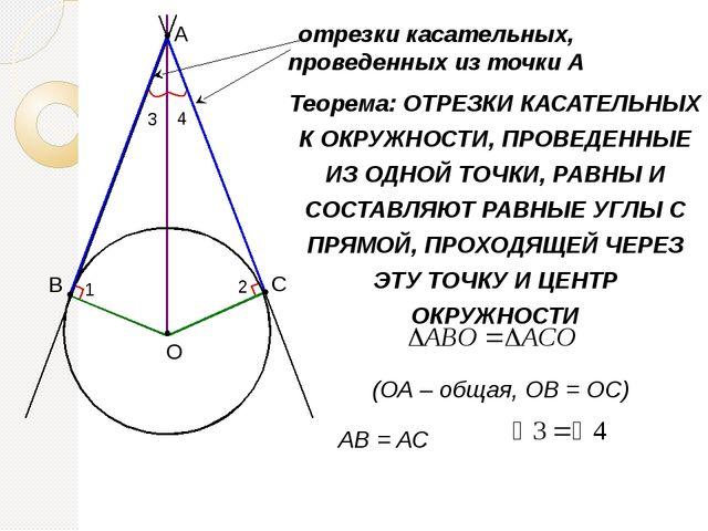 Теорема: ОТРЕЗКИ КАСАТЕЛЬНЫХ К ОКРУЖНОСТИ, ПРОВЕДЕННЫЕ ИЗ ОДНОЙ ТОЧКИ, РАВНЫ...