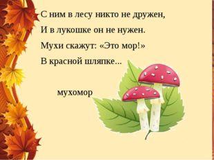 С ним в лесу никто не дружен, И в лукошке он не нужен. Мухи скажут: «Это мор!