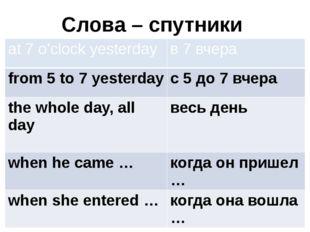 Слова – спутники at 7 o'clock yesterday в 7 вчера from 5 to 7 yesterday с 5 д