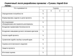 Оценочный лист разработки проекта: «Туника. Наряд для лета» Что оцениваетсяО