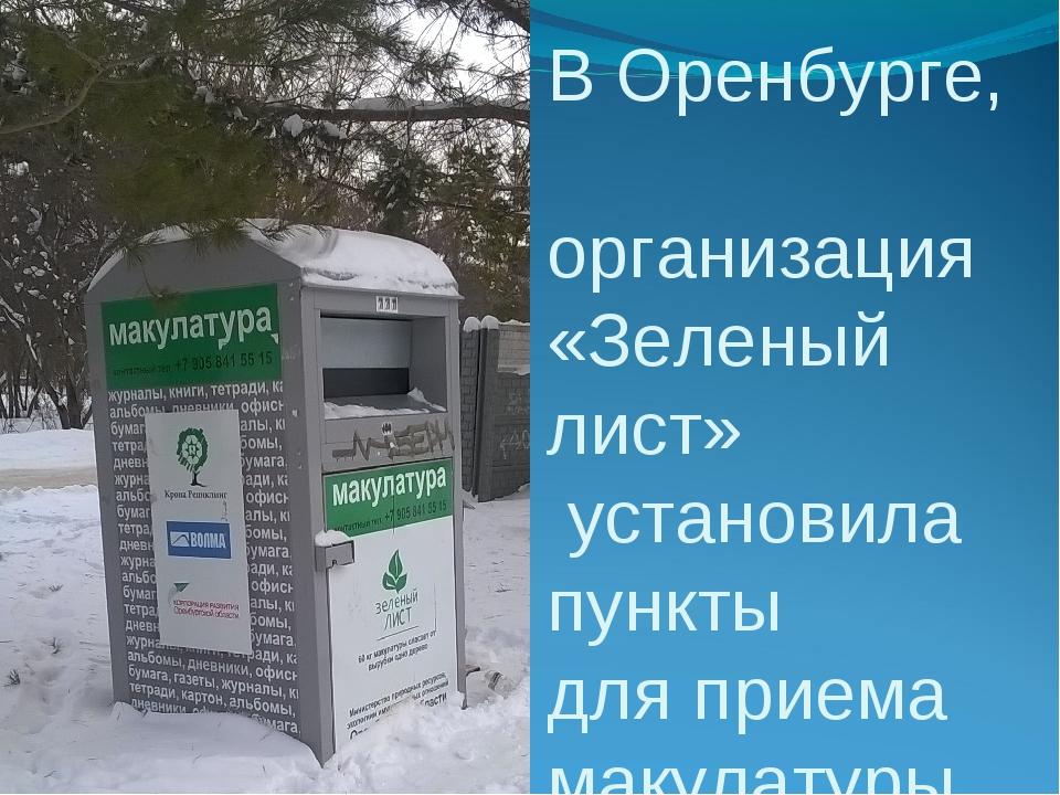 В Оренбурге, организация «Зеленый лист» установила пункты для приема макулату...