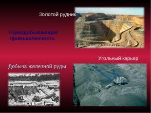 Добыча железной руды Золотой рудник Угольный карьер Горнодобывающая промышлен