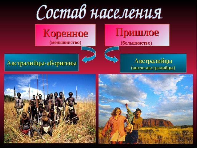 Коренное (меньшинство) Пришлое (большинство) Австралийцы-аборигены Австралийц...