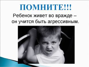 Ребенок живет во вражде – он учится быть агрессивным.