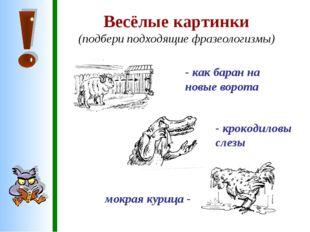 Весёлые картинки (подбери подходящие фразеологизмы) - как баран на новые воро