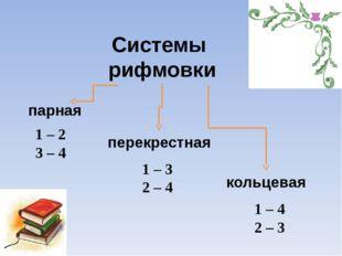 Системы рифмовки парная кольцевая перекрестная 1 – 2 3 – 4 1 – 3 2 – 4 1 – 4