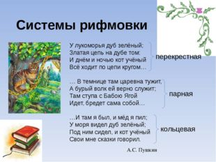 Системы рифмовки У лукоморья дуб зелёный; Златая цепь на дубе том: И днём и н