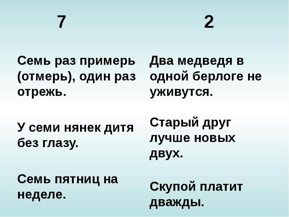 7 2 Семь раз примерь (отмерь), один раз отрежь. У семи нянек дитя без глазу....