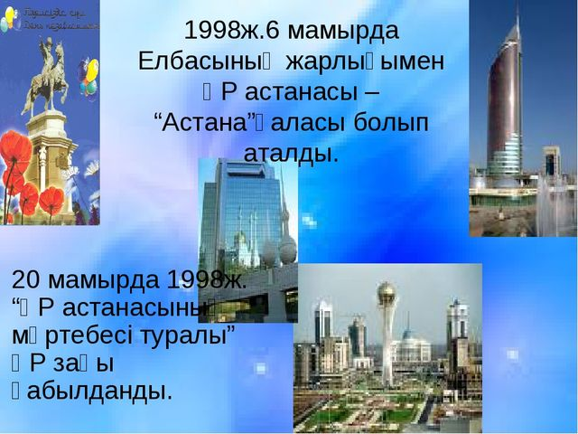 """1998ж.6 мамырда Елбасының жарлығымен ҚР астанасы – """"Астана""""қаласы болып аталд..."""