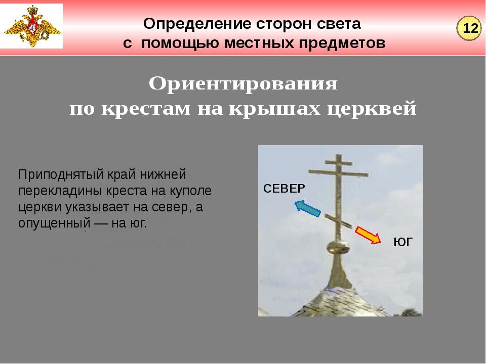 Определение сторон света с помощью местных предметов СЕВЕР ЮГ Приподнятый кра...
