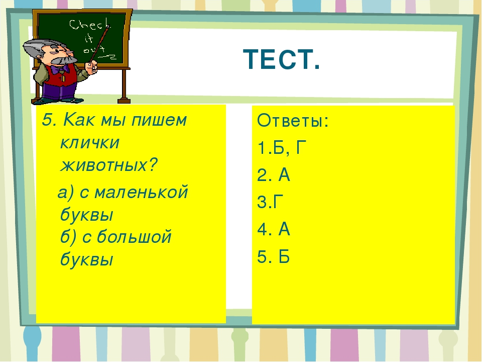 ТЕСТ. 5. Как мы пишем клички животных? а) с маленькой буквы б) с большой бу...