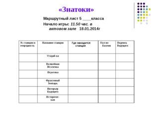 «Знатоки» Маршрутный лист 5 ____класса Начало игры: 11.50 час. в актовом зале