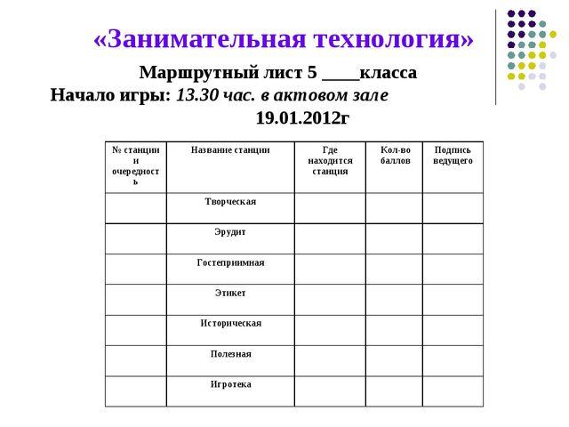 «Занимательная технология» Маршрутный лист 5 ____класса Начало игры: 13.30 ча...