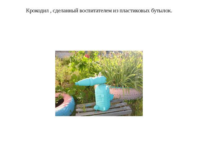 Крокодил , сделанный воспитателем из пластиковых бутылок.