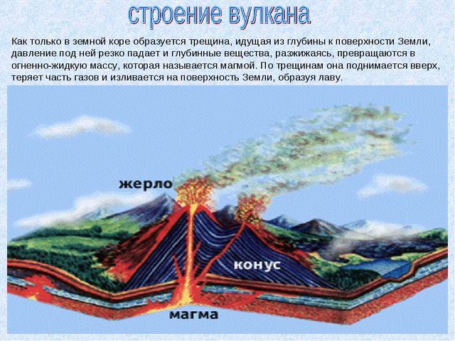 Как только в земной коре образуется трещина, идущая из глубины к поверхности...
