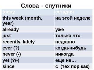 Слова – спутники today сегодня this week (month, year) на этой неделе already